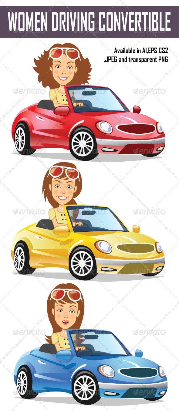 Women Driving Convertible - People Characters