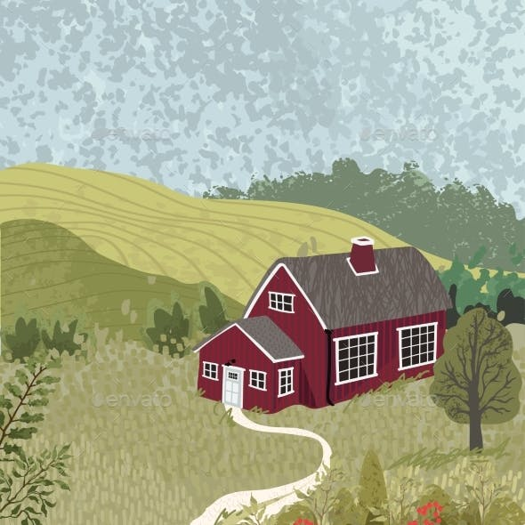 Nature Landscape with a House in the Scandinavian