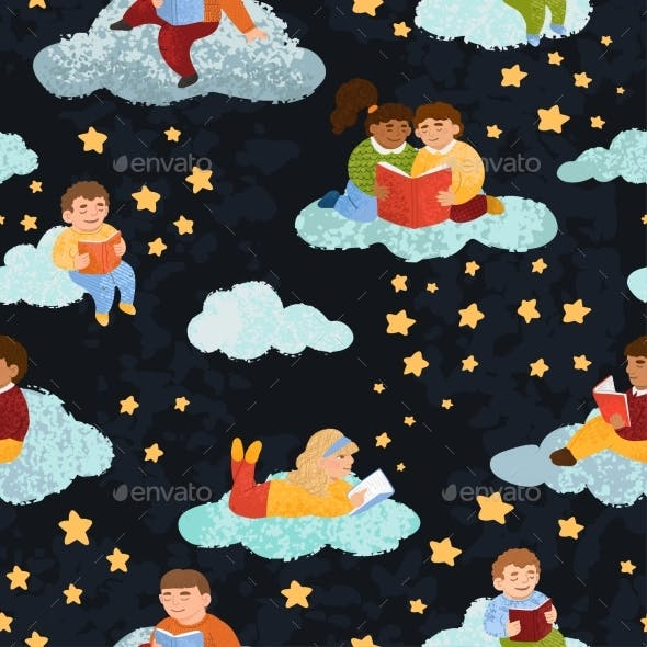 Seamless Pattern with Illustrations of Cute