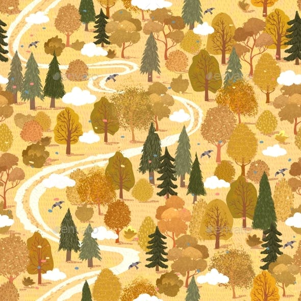 Seamless Pattern with Colorful Illustration