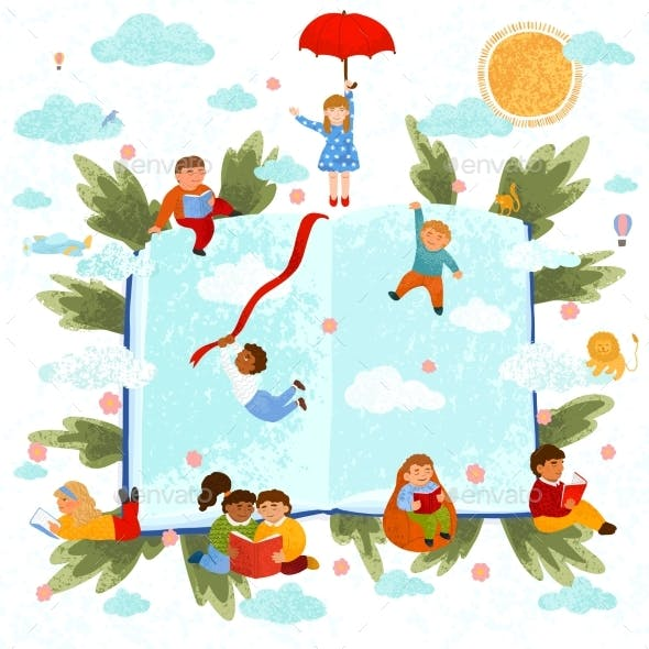 Colorful Illustration of Children Read a Book