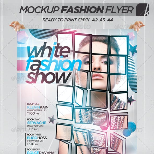 White Fashion Show 3D Mockup Flyer/Poster