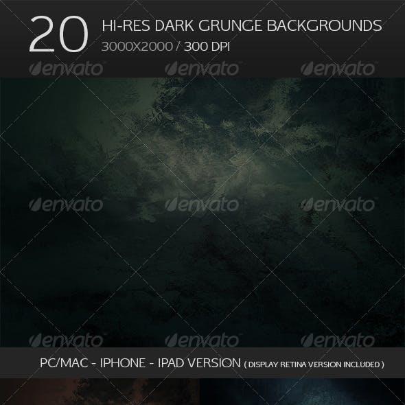 20 Hi-res Dark Grunge Backgrounds - Retina Bonus