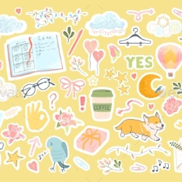 Set with Cute Stickers for Daily Planner