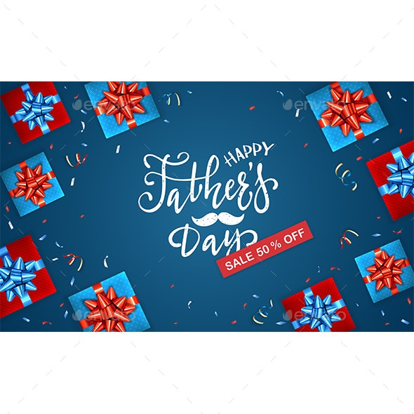 Fathers Day Sale and Gift Boxes on Blue Background - Miscellaneous Seasons/Holidays