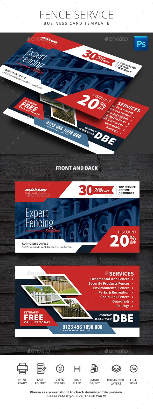 Fence Service Business Card Template - Business Cards Print Templates