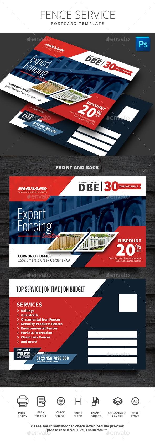 Fence Service Postcard Template - Cards & Invites Print Templates