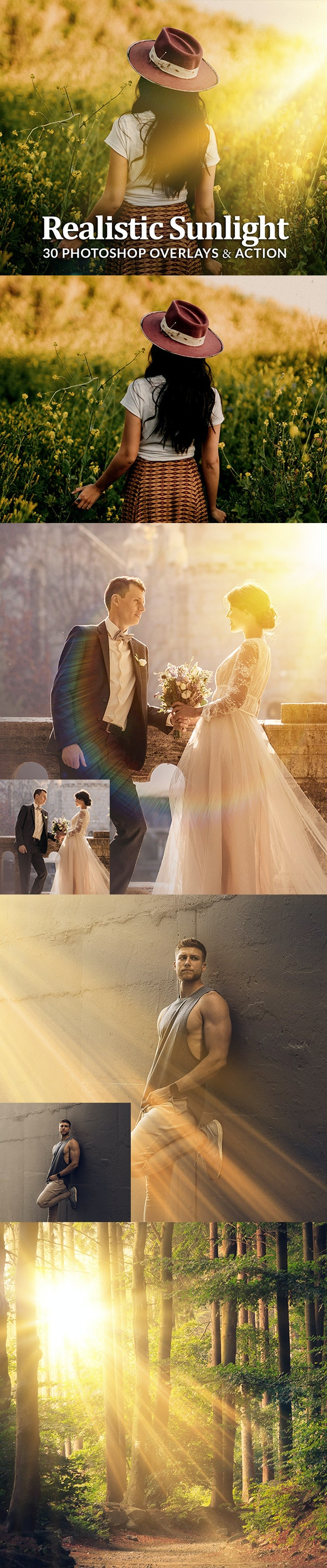 Realistic Sun Light Photoshop Overlays Action - Photo Effects Actions