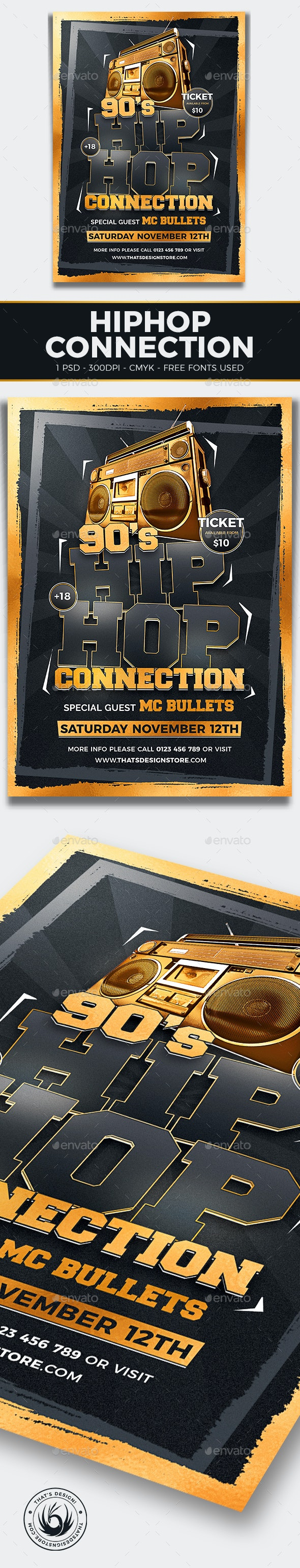 Hip Hop Connection Flyer Template V2 - Clubs & Parties Events