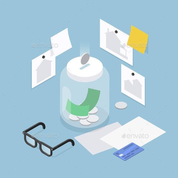 Saving Money Isometric Illustration - Business Conceptual