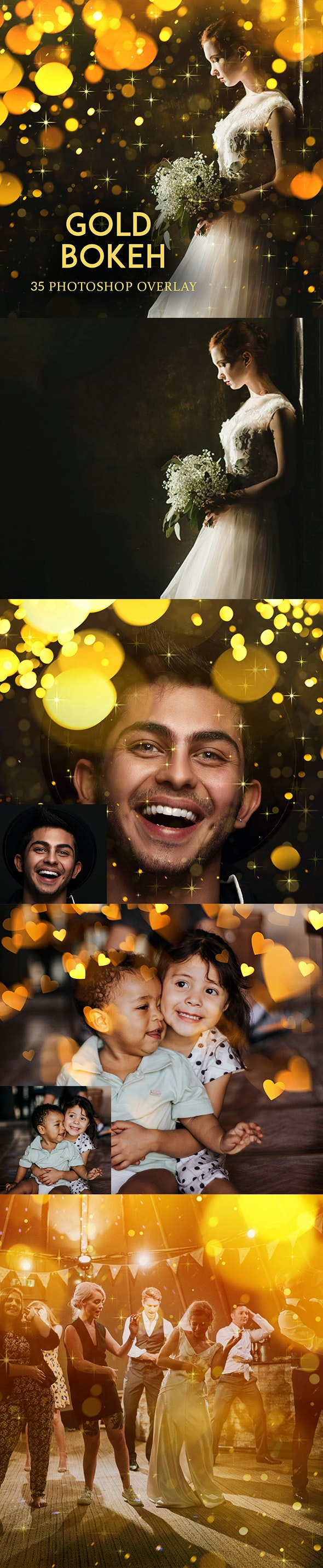Gold Bokeh Photoshop Overlay Action - Photo Effects Actions