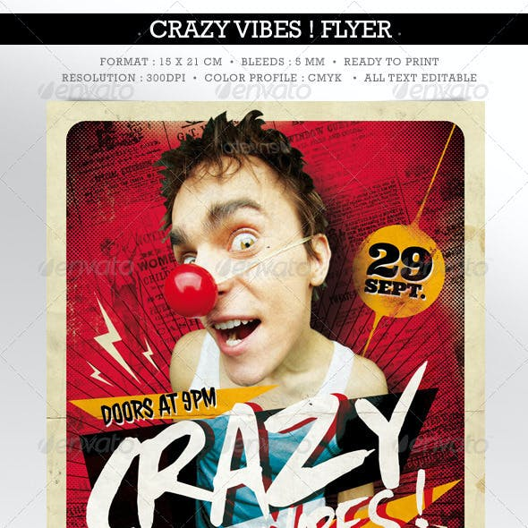 Crazy Vibes ! Template Flyer Double Sided