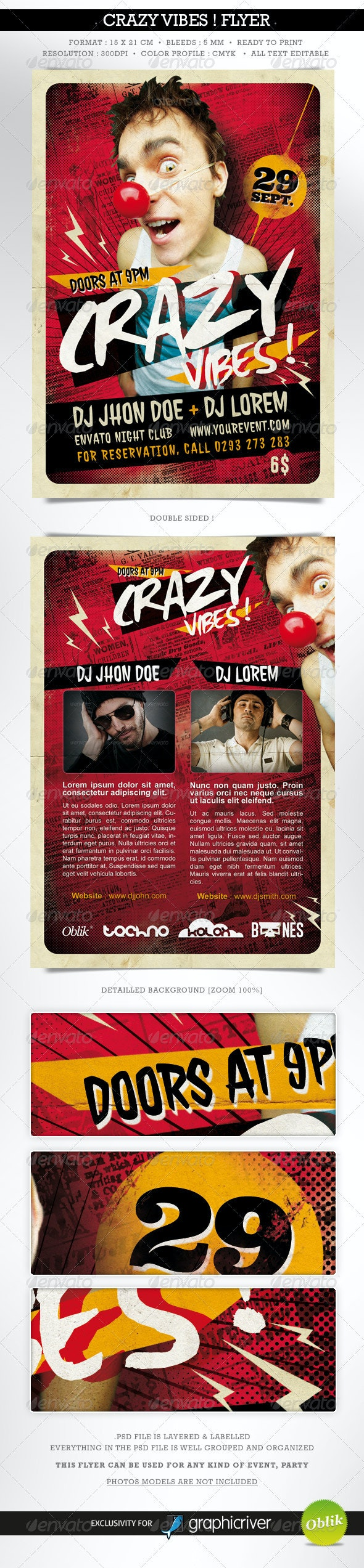 Crazy Vibes ! Template Flyer Double Sided - Concerts Events