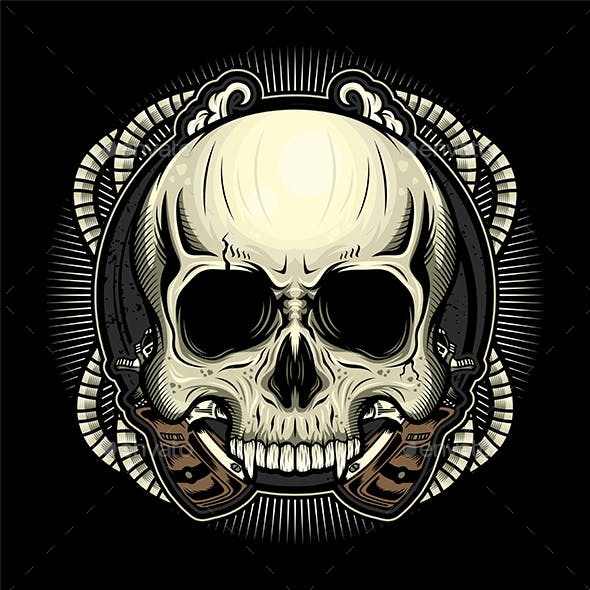 Vintage Skull Head Detailed Vector