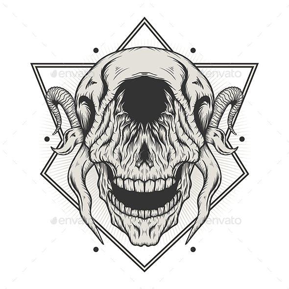 Skull Head with Horns
