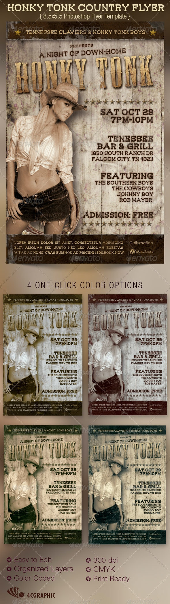 Honky Tonk Country Flyer Template - Clubs & Parties Events