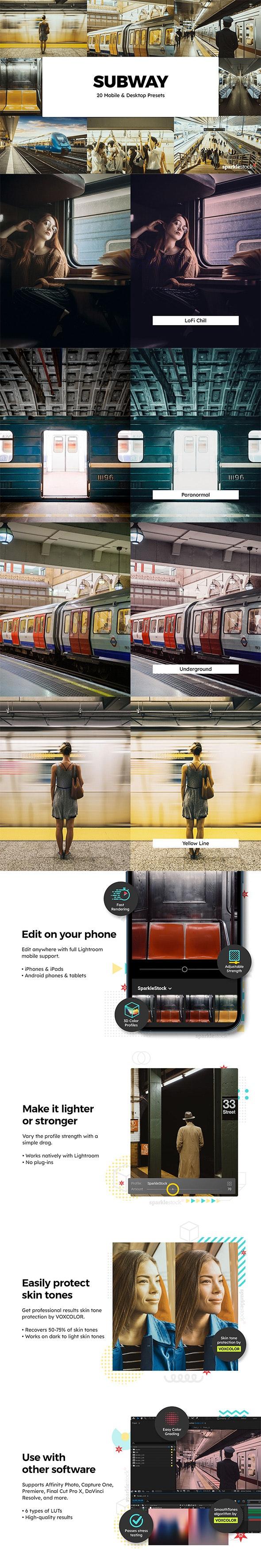 20 Subway Lightroom Presets & LUTs - Lightroom Presets Add-ons
