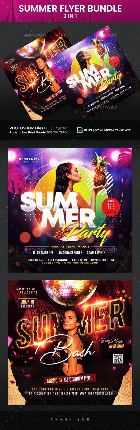 Summer Flyer Bundle 2 in 1 - Clubs & Parties Events