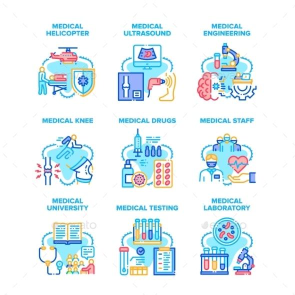 Medical Engineering Set Icons Vector Illustrations - Health/Medicine Conceptual