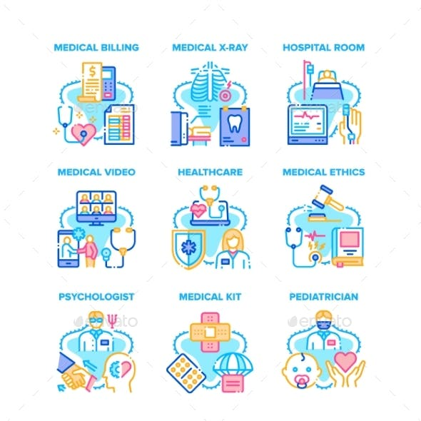 Medical Healthcare Set Icons Vector Illustrations