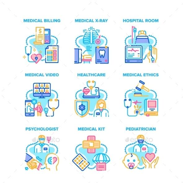 Medical Healthcare Set Icons Vector Illustrations - Health/Medicine Conceptual