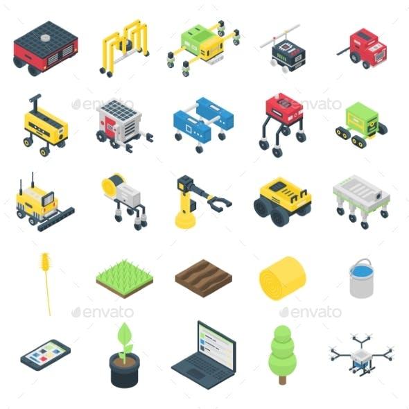 Farming Robot Icons Set Isometric Style