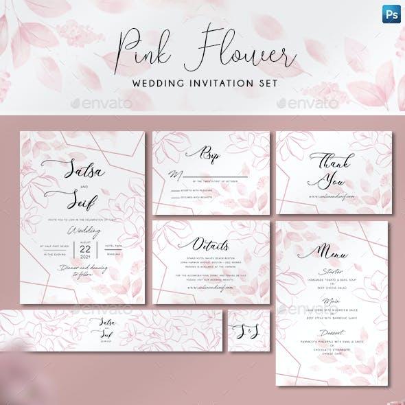 Pink Geometric Wedding Invitation Set