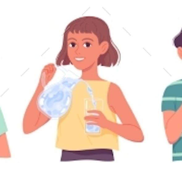 Kids Drinking Water Children Drinks Water Boys