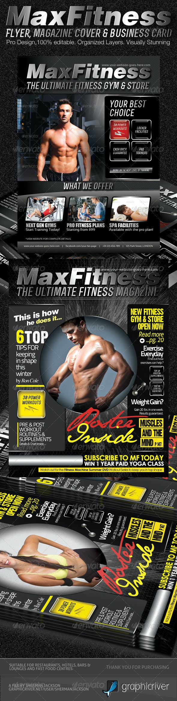 MaX Fitness Flyer & Magazine Cover Template - Commerce Flyers