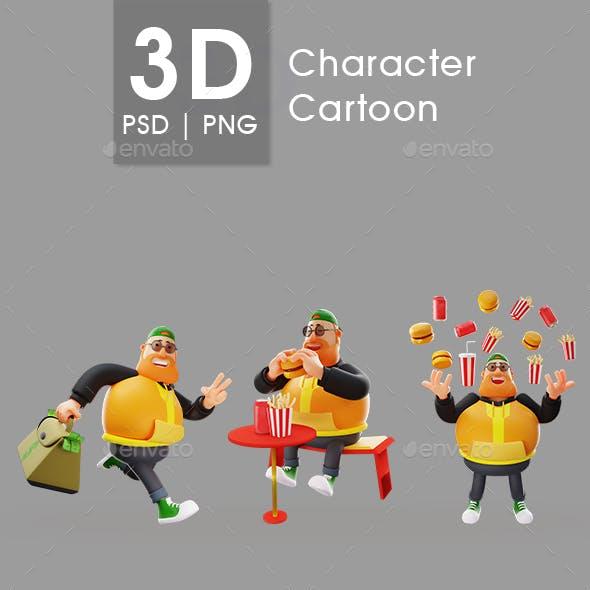 Beard Cartoon Character 3D Man