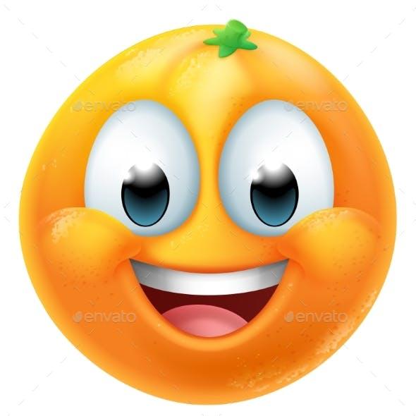 Orange Fruit Cartoon Emoticon Emoji Mascot Icon