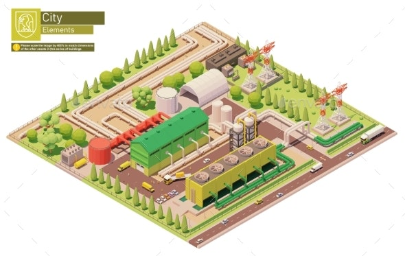 Vector Isometric Geothermal Power Station - Buildings Objects