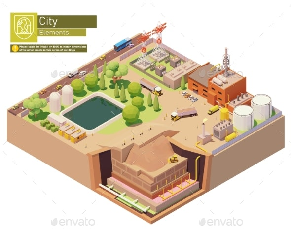 Vector Isometric Landfill Gas Power Plant - Buildings Objects