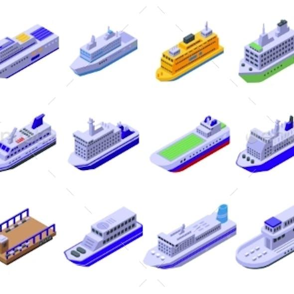 Ferry Icons Set Isometric Style