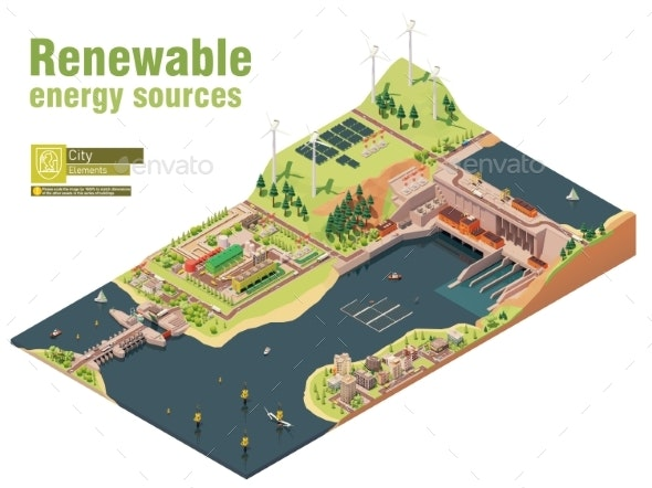 Vector Isometric Renewable Electricity Generation - Buildings Objects
