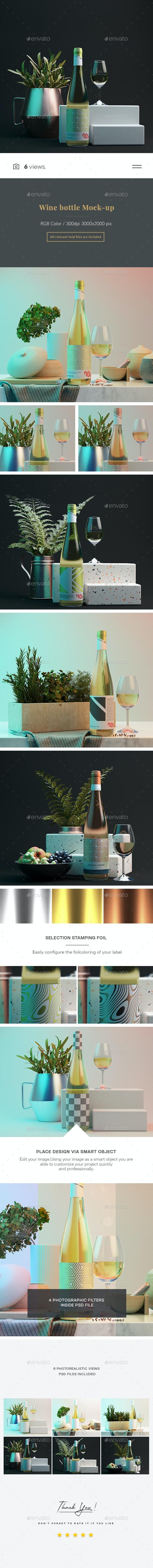 Wine bottle Mock-up 5 - Product Mock-Ups Graphics