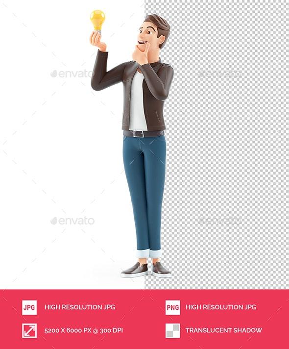3D Cartoon Man Looking at Light Bulb - Characters 3D Renders