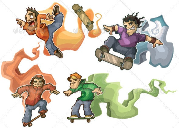 Skateboarders performing tricks isolated - Characters Vectors