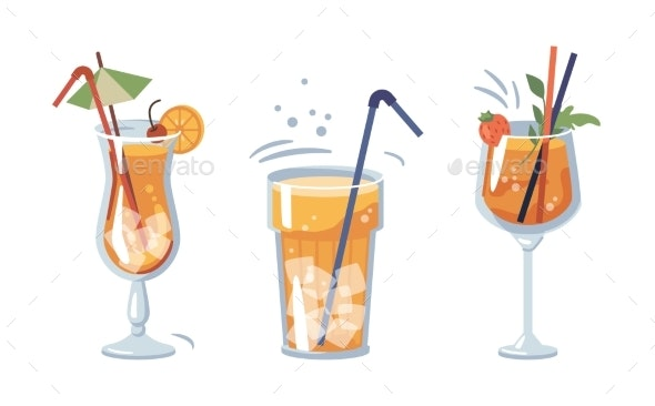 Cokctails Beverages Served in Glasses with Straws - Food Objects