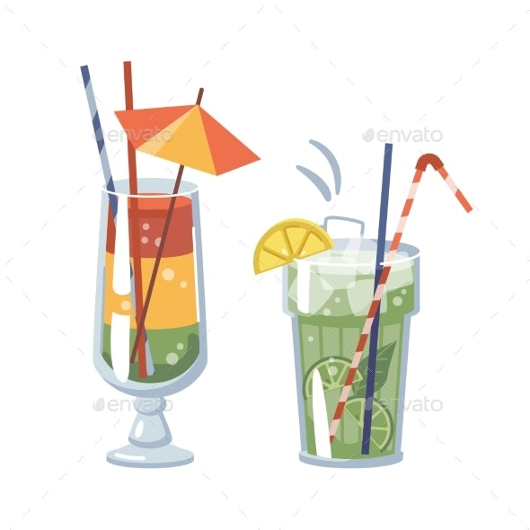 Mojito Cocktail Alcoholic Beverage with Umbrella - Food Objects