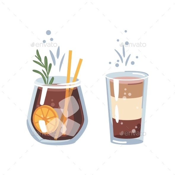 Old Fashioned Whiskey or Cocoa Cocktail Beverage - Food Objects
