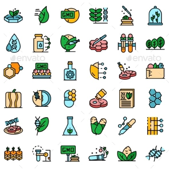 Gmo Food Icons Set Vector Flat