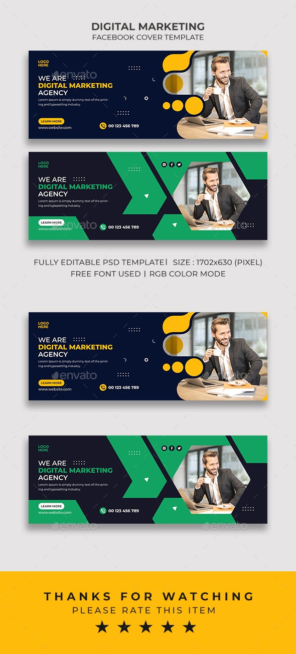 Digital Marketing Facebook Cover Template - Social Media Web Elements