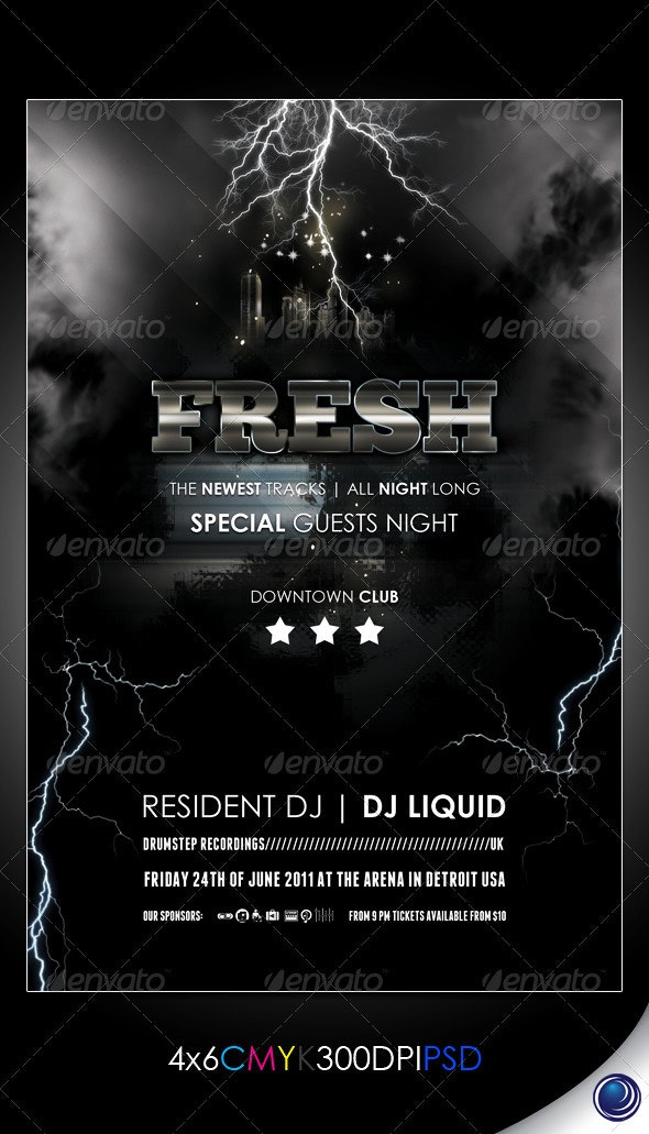 Lightning Music Nightclub Flyer Template - Clubs & Parties Events