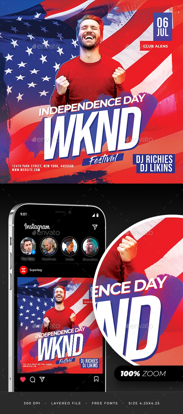 Independence Day Weekend Party Flyer - Clubs & Parties Events