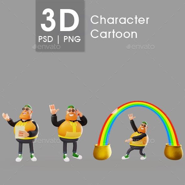 3D Render Fat Man Cartoon Character