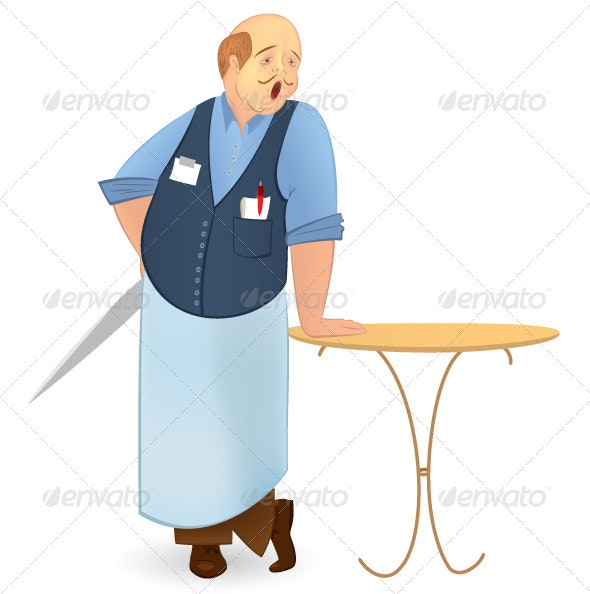 Bold cook with knife - Characters Vectors