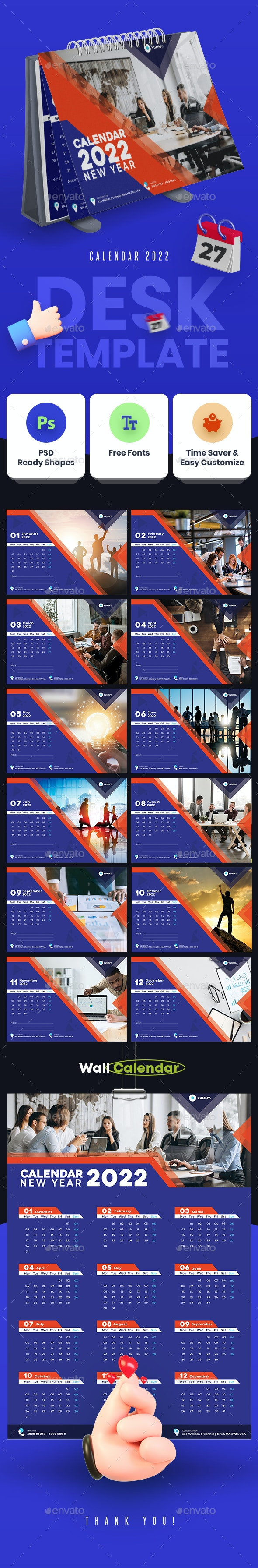 Wall And Desk Calendar 2022 By Yummyds Graphicriver