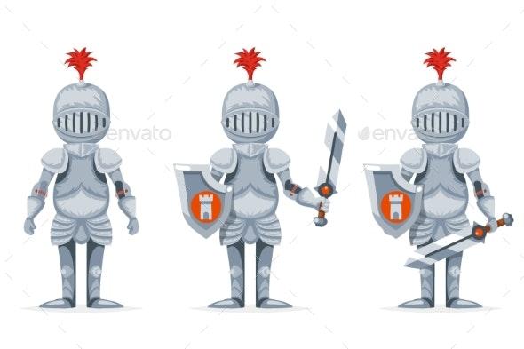 Cartoon Medieval Knight Crusader Character Design - Miscellaneous Vectors