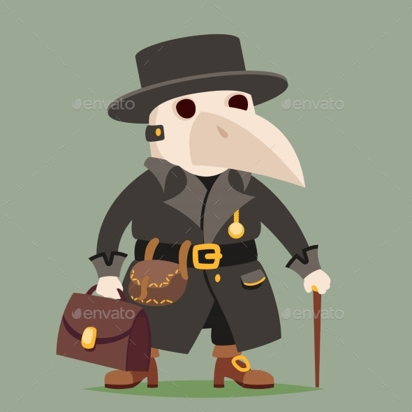 Medieval Plague Doctor Character Cartoon Design - People Characters